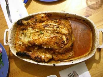 le beau poulet à la sortie du four